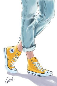 Cool Art Drawings, Easy Drawings, Art Sketches, Converse Drawing, Marker Kunst, Illustration Mode, Illustrations, Sneaker Art, Fashion Wall Art