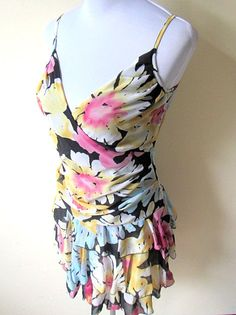 Summer Fashion: black with pastel floral layered dress by VintageHomage on Etsy, $18.00
