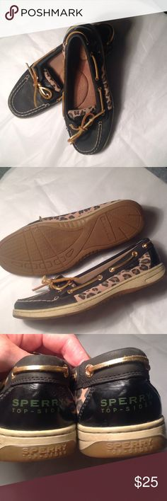 Sperry topsider leopard black 10m Low cut Sperry topsider black with leopard. Size 10 Sperry Top-Sider Shoes