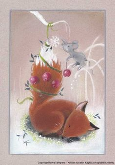 Fox Asleep the mice play Fuchs Illustration, Cute Illustration, Sleeping Fox, Art Fox, Vintage Christmas, Christmas Crafts, Fox Totem, Fox Crafts, Fox Drawing