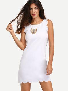 White Sleeveless Scallop Sheath Dress