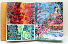 An art journaling spread by Peony and Parakeet