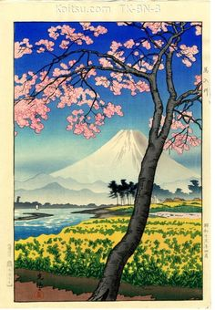 "Woodblock art by Tsuchiya Koitsu ""The River Banyu in Springtime"" from the Koitsu Database"