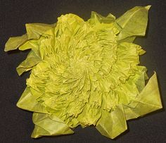 Mathematical Origami Model of a Romanesco Broccoli by Brian Chan: Made from a single piece of paper with eight spirals in one direction and thirteen in the other.