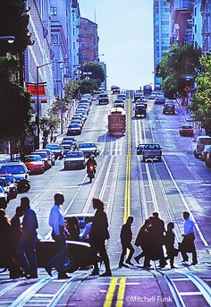People Crossing California Street With Cable Car In The Background, San Francisco By Mitchell Funk www.mitchellfunk.com