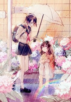 ✮ ANIME ART ✮ Kawaii anime girls in the rain. Manga Anime, Manga Girl, Yuri Anime, Anime Girls, Anime Best Friends, Anime Love, Kawaii Anime, Fantasy Sketch, Photo Manga