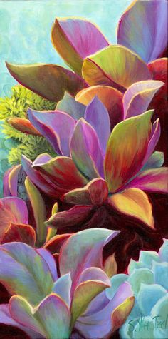 Succulent Jewels giclee print on canvas or/paper ©Sandi Whetzel.    This succulent grouping was cropped from a larger photo of various succulents. The painting began as a domination of red violet, with harmonious neighboring colors of red, red orange, violets and blues and accents of yellow orange and yellow green. It feels tropical in coloring as well as fluorescent and jewel-like, hence Succulent Jewels.