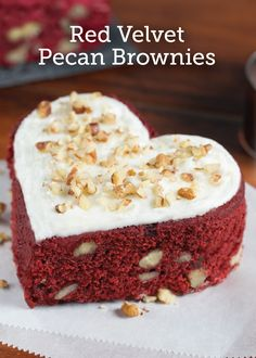 """Looking for a way to say """"I love you"""" this Valentine's Day? This heart–shaped Red Velvet Pecan Brownie will have that special someone feeling the love."""
