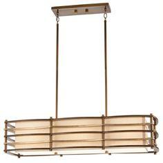 Island Bar Suspension Pendant Ceiling Light, Art Deco with Bronze Bars