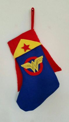 handmade Christmas stocking superhero boys by FlutterbyBazaar
