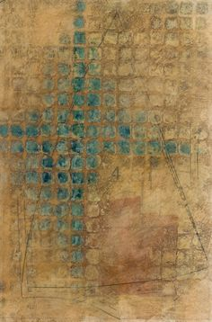 """""""Sequence Structure"""" - Leslie Pearson - encaustic and paper on panel"""