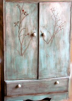 Weathered rustic blue child's armoire wardrobe by LittleGoatChic, $185.00