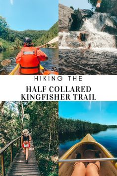 The Half Collared Kingfisher Hiking trail is located in the beautiful Wilderness, South Africa and is a must whenever you are in the Garden route area. Hiking Guide, Hiking Trails, Kingfisher, Canoe, Wilderness, South Africa, Dip, Collars, Waterfall