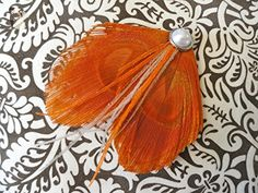Oh Lucy Handmade MELISSA Peacock Feather Hair Clip, Vintage-inspired Fascinator in Orange - Bridesmaid gifts (*Amazon Partner-Link)