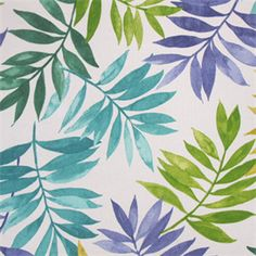 This is a green, blue and purple floral leaf design indoor outdoor fabric by Swavelle Mill Creek, suitable for any decor in the home.  Perfect for pillows, cushions and furniture.