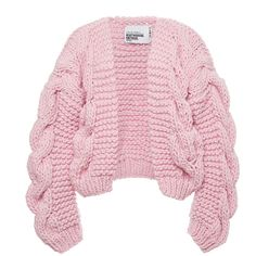Knitting Patterns Cardigan Pink Wool Bomber Chunky Cardigan by I Love Mr. Mittens Now Available on Moda Operandi Chunky Knitwear, Chunky Wool, Pastel Tops, Pastel Pink, Pink Tops, I Love Mr Mittens, Long Knit Cardigan, Pink Cardigan, Cardigan Pattern