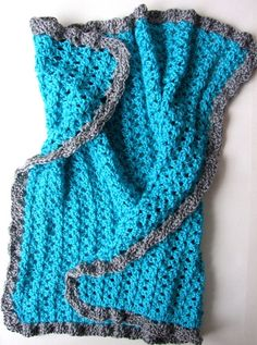 Blue and Grey-Hand Crocheted Baby Blanket