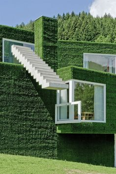 Family house in Frohnleiten, Austria, by architect Weichlbauer Ortis (ORTIS GmbH) covered in synthetic grass.