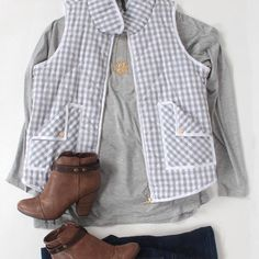 """We love the way this Heart Of A Girl Heather Gray Gingham Vest ($34.99) is styled with these Walkin' On Sunshine Tan Ankle Booties ( $39.99)! Get the…"""