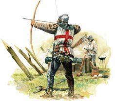 Arquero de tiro largo ingles (Longbow) y Bombarda en la batalla de Crécy 1346.