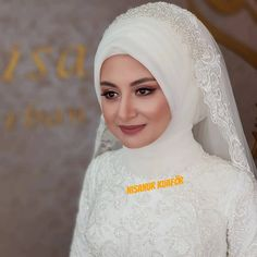 Pakistani Bridal Makeup, Bridal Hijab, Hijab Wedding Dresses, Hijab Bride, White Wedding Dresses, Hijab Dress, Bridal Gowns, Muslimah Wedding, Marriage Dress
