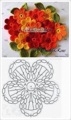 Crochet Square Patterns, Crochet Diagram, Crochet Chart, Love Crochet, Irish Crochet, Crochet Motif, Crochet Designs, Knitting Patterns, Crochet Leaves