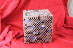 Minecraft Diamond Ore Inspired Box Made of Perler by BraveDeity