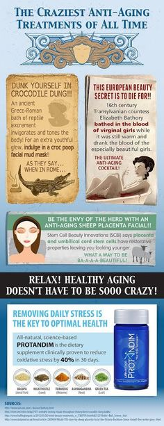 Throughout the history of time, people have been trying to find ways to reduce or prevent the effects of aging. We& compiled a list of the craziest anti-aging treatments of all time! Anti Aging Cream, Anti Aging Skin Care, Anti Aging Supplements, Oxidative Stress, Anti Aging Treatments, Inevitable, Get Healthy, Healthy Aging, Healthy Life