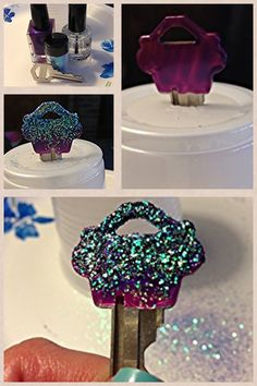 DIY bling key! Nail polish and loose glitter then clear top coat