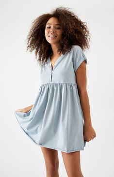 Nursing Pajamas, Women's Henley, Babydoll Dress, Blue Dresses, Baby Dolls, Fitness Models, Super Cute, Short Sleeves, Rompers