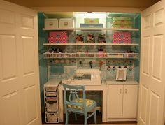 Neat and tidy craft room...in a closet! A great way to keep your crafts organized for good.