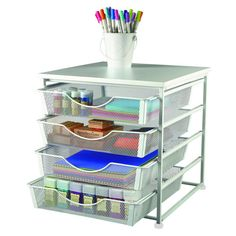 Recollections Metal 4 Drawer Cube - Keep all of your favorite crafting supplies within reach with this handy organizer. Four convenient drawers for easy access, this unit is perfectly sized for use on your desktop or work table. Open weave basket drawers give you a clear view of all of your supplies, and they pull out easily so you can take it with you to your project area.
