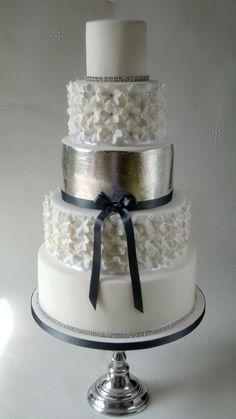 Silver Leaf and Swarovski Crystal Blossoms Wedding Cake
