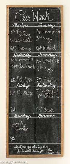 DIY Giant Chalkboard Kitchen Weekly Planner – The Happy Housie