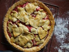 rhubarb pie with hearts.