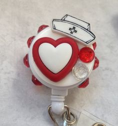 Nurses Hat and Heart Retractable Badge Reel by ForTheLovetlc, $8.00