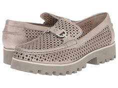 Donald J Pliner Raza Loafer Shoes 5. Metallic suede upper with perforated detail. Slip-on construction. Rounded, moc toe design. Metal bit at vamp. Leather lining. Lightly padded footbed. Synthetic outsole. Heel Height: 1 1⁄4 in Platform Height: 3⁄4 in.