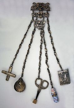 Chatelaines were useful because they held an assortment of small tools and could be pinned on a dress
