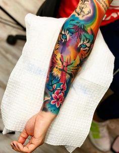 Tattoo on arm Lion Tattoo Sleeves, Best Sleeve Tattoos, Sexy Tattoos, Body Art Tattoos, Tattoos For Women, Ink Tattoos, Tattoo Tribal, Tattoo On, Tiger Tattoo