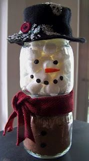 Hot Chocolate Snowman - using recycled baby food jars