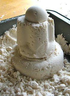 The Silly Mom DIY Cloud Dough- 4 cups flour, 1/2 cup baby oil. SO FUN