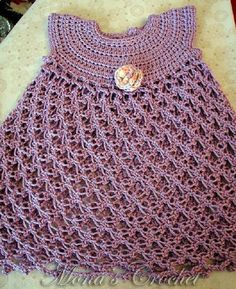 Hand Crocheted Solomon's Knot Baby Dress  Infant by MonasCrochet