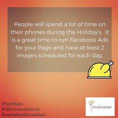 #TechTips The Holiday's are a great time to put money into a Facebook Ad for your Chiropractic Clinic.  My best advice for an ad strategy during this time is to make it be or seem as personal as possible.  Using images of real people sharing a true story or real experience or boosting a short video testimonial.  #BeThere #ChiropracticVoice #InMoreHouseholds #ThroughSocialMedia #IfEveryChiropractorRanAnAd #ThinkofthePossibilities