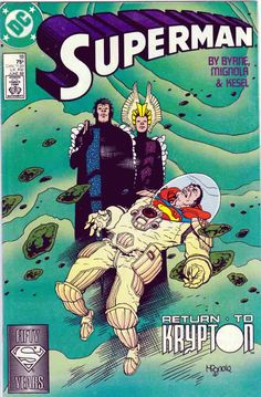 Superman #18 June 1988 Mike Mignola Cover Art & Pencils. John Byrne Story. Hawkman and Hawkgirl return Superman to the remains of Krypton, where he imagines an alternate life that could have happened if his father Jor-El discovered the cure for Kryptonite radiation poisoning, resulting in a mass exodus of Krypton before its destruction.