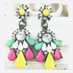 Chunky Neon Gem Drop Earrings Super fun & trendy! - yellow, green, pink, crystal colored gems - drop earring style - lead & nickel free! Jewelry Earrings