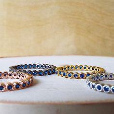Blue Sapphire Bezel Rose Gold Band - 6.25 / 0