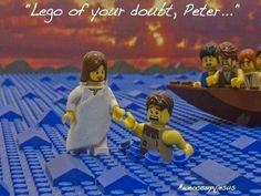 Funny Jesus Lego of your doubt Peter Bible pun Church Memes, Church Humor, Catholic Memes, Bible Humor, Jw Humor, Jesus Humor, Bible Jokes, Jesus Jokes, Jesus Funny