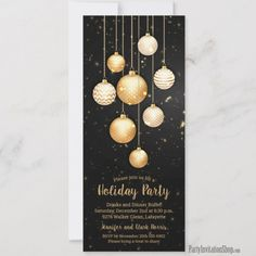 Shop Gold Baubles Christmas Tree Ornaments Invites created by PartyInvitationShop. Personalize it with photos & text or purchase as is! Christmas Tree Baubles, Christmas Holidays, Christmas Cards, White Christmas, Office Holiday Party, Holiday Parties, Gold Invitations, Invites, Invitation Ideas