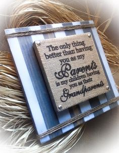 Grandparents Sign   Hanging Plaque  Burlap Sign   by DesignsBySyds