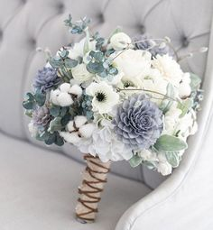 Blue grey and white flowers wedding bouquet #bouquet